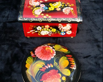 Decorative Wood Box, Hand Painted Petrikivka Folk Art Boxes, Vintage Ukrainian Trinket Box, Jewelry Storage Box, Collection of Wooden Boxes