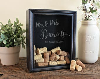 Personalized Wine Cork Holder, Wedding Gift, Wedding Guest Book Alternative, Wine Cork Shadow Box, Personalized Gift, SBX100