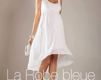 White summer dress, Spring Maternity Dress, Flowy Hi Low Hem Dress, White dress for pregnancy