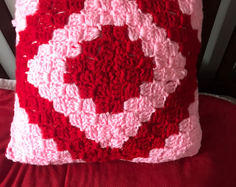 Pink and Red 14 inch Corner to Corner Pillow, Decorative Pillow, Couch Pillow, Square Pillow, Valentine Pillow,Free Shipping,