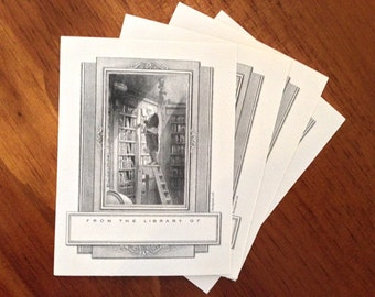 The Bookworm bookplate - Man on ladder in library
