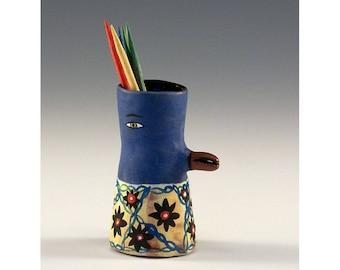 Luther - Keramik Vogel Zahnstocher halten Knospe Vase von Jenny Mendes