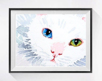 Cat Artwork, White Cat, Art Print, Easter Sale, Kitty, kitten, Cat Art print, Watercolour painting, wall art, Cat illustration,