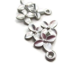One Pair 3 Silver Flower Connector Cherry Blossom Earring Pendant Floral Chandelier Earring Findings