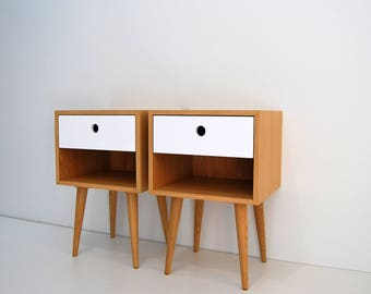 Pair of Nightstand, bedside table, side table with one drawer lacquered in white, scandinavian design, mid century modern, retro