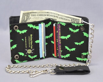 Vegan Chain Wallet Little Green Bats, Black Canvas, Halloween Fabric Pockets, Goth Punk, Detachable Chain, Bi-fold Wallet