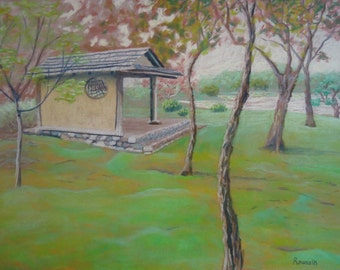 "Original Art Work of Seiwa-en Garden ""Place of Rest"" impressionism impressionist architecture art Missouri Botanical Garden"