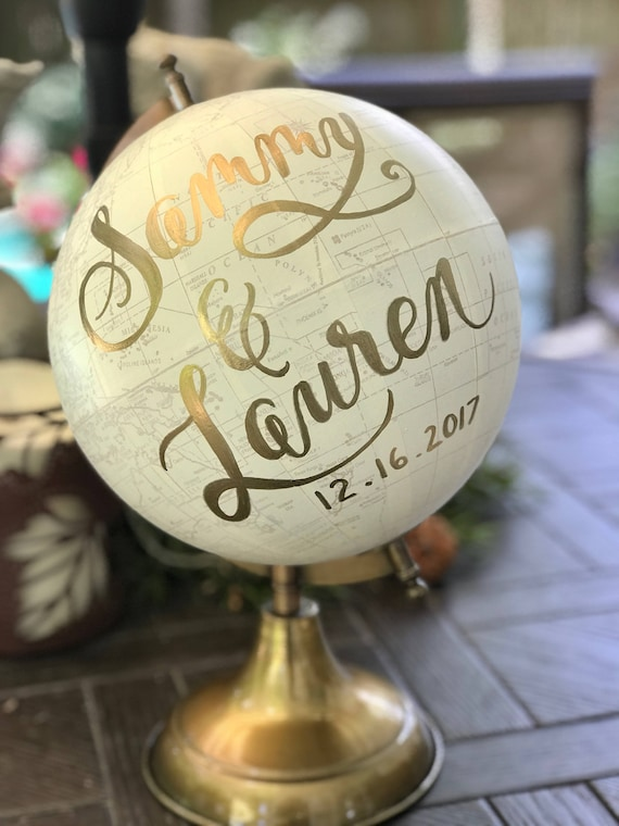Wedding Guest Book Globe/WHITE WASHED w/Gold, Rose Gold or other color ink / custom calligraphy - Great for weddings or baby's nursery