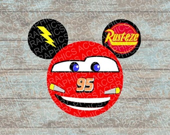 Lightning McQueen Mouse Head SVG, DXF, JPEG, and Studio Downloads
