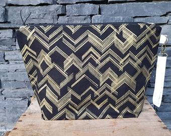 Project Bag | Knitting Bag | Knitting Project Bag | Zippered Project Bag | Wedge Bag | Sweater Knitting Bag | Gold Glitter
