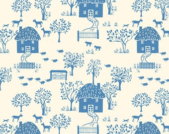 Liberty of London LF04775616Y Cottage Lane Little House Blue and Cream 100% Patchwork Quality Cotton Fabric