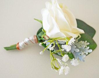 Champagne rose, Rustic boutonniere, Classic wedding, Silk boutonniere, Wedding buttonhole, Groom boutonniere, Flower buttonhole, Lucas