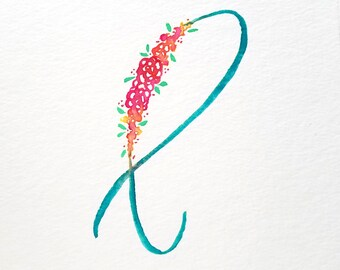 Custom Floral Watercolor Letter | Floral Initial | Watercolor Initial | Floral Monogram | Watercolor Letter | Watercolor Monogram
