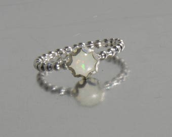 Opal ring, silver opal ring, ONE delicate stackable birthstone ring, mothers ring, engagement ring