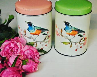 Two Dutch vintage tin containers with colourful birds and blossoms - antique- brocante - Holland  - 50's