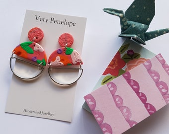 Polymer Clay Stud Earrings 'Pink for Penny'/circle dangle with silver
