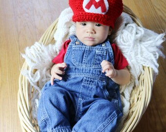 ... crochet super mario hat newborn  sc 1 th 200 & how to make a baby mario hat crochet pattern