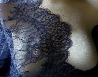 SALE Navy Blue Lace Eyelash Fabric Chantilly for Bridal, Mother of the Bride Gowns, Mantilla Veils, Garments CH 14
