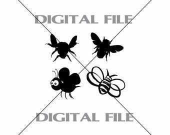 Four Bumble Bees Vector Images Vinyl Decal T-shirt Digital Cutting Files ,Svg File, Ai, Eps, PNG