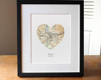 Portland Heart Map Print, Oregon Art, Portland Art, Custom City Print, Northwest Print