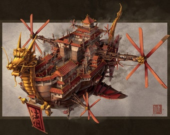 Imperial Airship Chinese Steampunk Print by James Ng