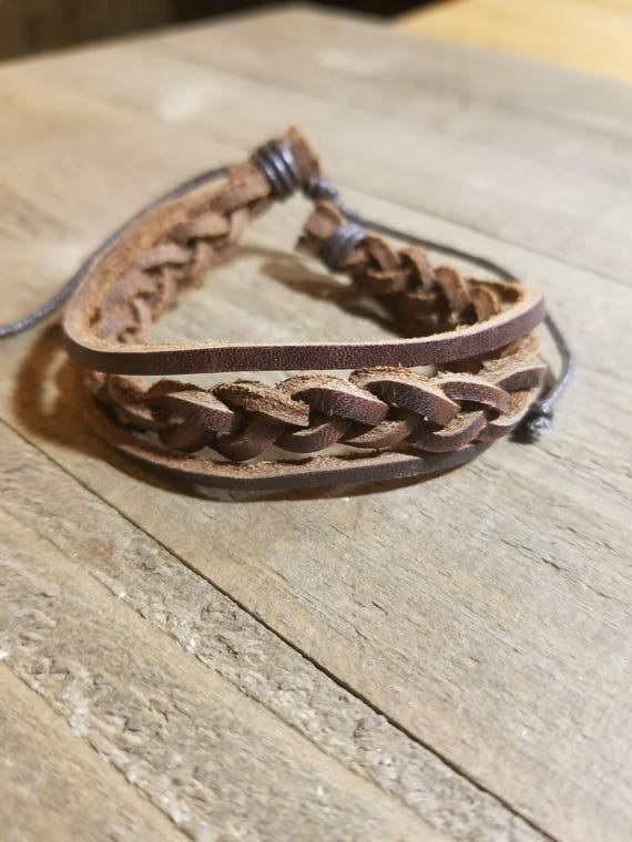 Brown Leather Braided Adjustable Bracelet Native American Style Fashion Cuff  (B7)