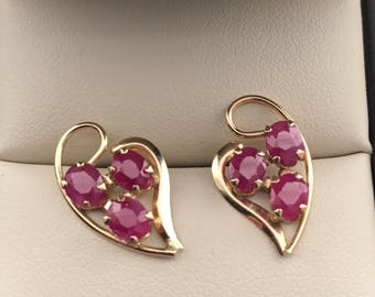 Beautiful Ruby Studs set in 14 Kt Yellow Gold