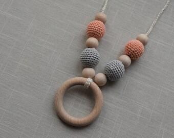 orange peach Crochet Nursing Necklace - Breastfeeding Necklace - Teething necklace with crochet beads