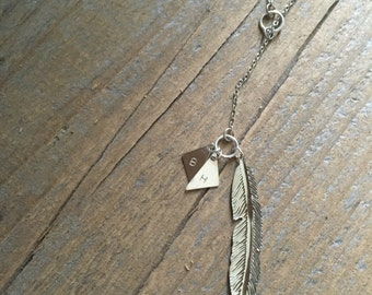 Feather Lariat Hand Stamped Initial Necklace