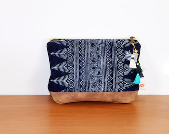 Hmong fabric pouch. Small leather and tassels clutch for traveller. Indigo veg dyed and tan leather make up bag. Gift for traveler. For her
