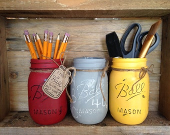 Painted Mason Jars. Teachers gift. Back to school set. Set of 3. Classroom Decor. Bedroom Decor.