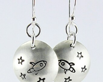 Fly Me To The Stars Earrings - Polished Matte Sterling Silver Domed Discs