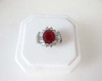 Vintage Ruby Red and Clear Rhinestone Rhinestone Ring on a Silver Tone Setting - Size  8 - Red and Silver Ring - Gift for Her - Beautiful