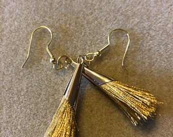 3 inch goldtone tassel earrings in gold, black, or pink