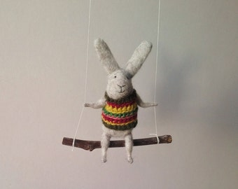 Gray bunny on swing, Felted Animal, Felted Bunny, Bunny Mobile,Baby Crib Mobile, Nursery Decor