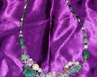 Crazy Woman unique sea green necklace