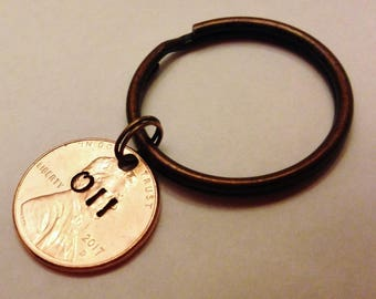 Stranger Things Keychain, 011 Eleven, Last Minute Gift, Stranger Things Gifts, Waffles, Stamped Penny Key Chain, Friends Gift, Ready to Ship