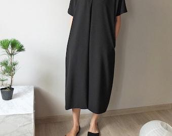 tencel ruched shoulder V-neck tunic style maxi dress