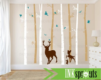 Birch Tree Decal with Buck and Baby in two colors, set of 8 , Birch Trees with flying birds, birch tree set, Birch forest, Nursery decals
