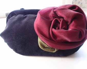 Black Velvet Red Rose Evening Bag