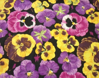 Pansies Fabric Flowers Beautiful Purple Pink Yellow Pansy  New By The Fat Quarter BTFQ