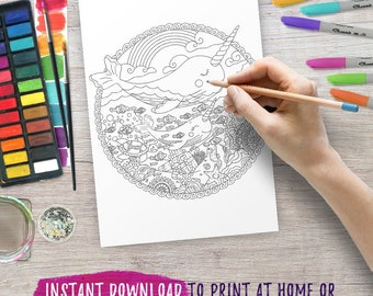 NARWHAL adult coloring pages Sea life coloring page Whale printable colouring pages PDF download