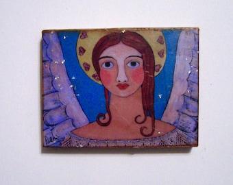 Folk Art Angel Painting Encaustic Woodblock print from original painting