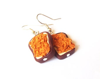 Peanut Butter Toast Earrings ( polymer clay miniature toast miniature food funny jewelry food earrings breakfast earrings silver earrings)