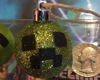 Minecraft inspired Creeper inspired Sparkly mini ornament great for rearview mirror hanger!