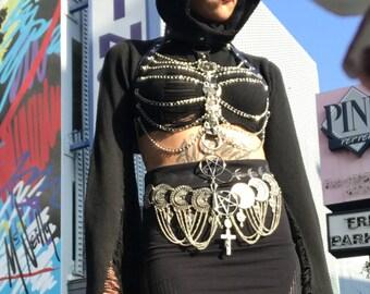 "Silver Black chains ""666 666 Malice"" harness"