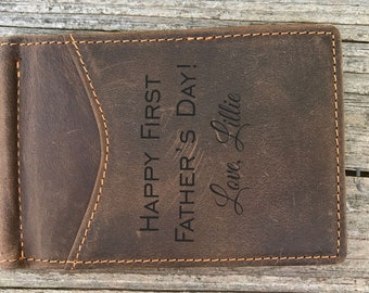 Father's day gift for Dad Gift First Fathers day Mens Gift for Him Engraved Custom Money Clip, Personalized Leather Wallet, Husband gift