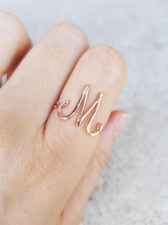 Erste Buchstabe M Ring M 22k Rose Gold erste Ring Rose Gold M