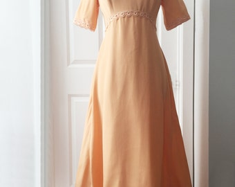 Vintage 60s orange maxi dress/ pastel prom gown/A-line mother of the bride long dress/ empire waist/ lace trim/ short sleeve