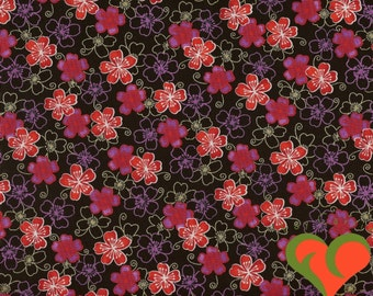 Asian Fabric. Maui Blossoms by Michael Miller. Half Yard. Out of Print (O2O).